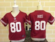 Wholesale Cheap Toddler Nike 49ers #80 Jerry Rice Red Team Color Stitched NFL Elite Jersey