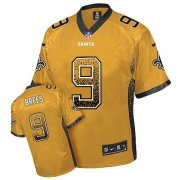 Wholesale Cheap Nike Saints #9 Drew Brees Gold Men's Stitched NFL Elite Drift Fashion Jersey
