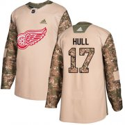 Wholesale Cheap Adidas Red Wings #17 Brett Hull Camo Authentic 2017 Veterans Day Stitched NHL Jersey