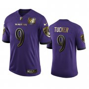 Wholesale Cheap Baltimore Ravens #9 Justin Tucker Men's Nike Purple Team 25th Season Golden Limited NFL Jersey