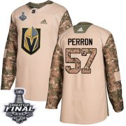 Wholesale Cheap Adidas Golden Knights #57 David Perron Camo Authentic 2017 Veterans Day 2018 Stanley Cup Final Stitched Youth NHL Jersey