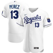 Wholesale Cheap Kansas City Royals #13 Salvador Perez Men's Nike White Home 2020 Authentic Player MLB Jersey