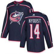 Wholesale Cheap Adidas Blue Jackets #14 Gustav Nyquist Navy Blue Home Authentic Stitched NHL Jersey
