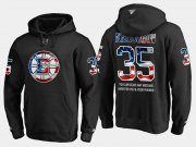 Wholesale Cheap Bruins #35 Anton Khudobin NHL Banner Wave Usa Flag Black Hoodie
