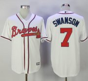 Wholesale Cheap Braves #7 Dansby Swanson White New Cool Base Stitched MLB Jersey