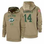 Wholesale Cheap New York Jets #14 Sam Darnold Nike Tan 2019 Salute To Service Name & Number Sideline Therma Pullover Hoodie