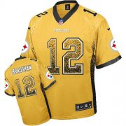 Wholesale Cheap Nike Steelers #12 Terry Bradshaw Gold Men's Stitched NFL Elite Drift Fashion Jersey