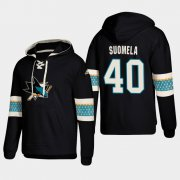 Wholesale Cheap San Jose Sharks #40 Antti Suomela Black adidas Lace-Up Pullover Hoodie
