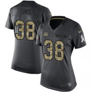 Wholesale Cheap Nike Bengals #38 LeShaun Sims Black Women's Stitched NFL Limited 2016 Salute to Service Jersey