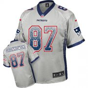 Wholesale Nike Patriots #87 Rob Gronkowski Grey Youth Stitched NFL Elite Drift Fashion Jersey