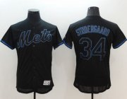 Wholesale Cheap Mets #34 Noah Syndergaard Black Fashion Flexbase Authentic Collection Stitched MLB Jersey