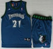 Wholesale Cheap Minnesota Timberwolves #21 Kevin Garnett Blue Hardwood Classics Revolution 30 Jersey Short Suits