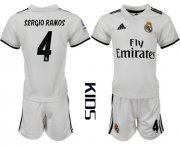 Wholesale Cheap Real Madrid #4 Sergio Ramos White Home Kid Soccer Club Jersey