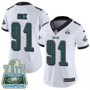 Wholesale Cheap Nike Eagles #91 Fletcher Cox White Super Bowl LII Champions Women's Stitched NFL Vapor Untouchable Limited Jersey
