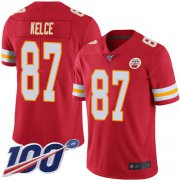 Wholesale Cheap Nike Chiefs #87 Travis Kelce Red Team Color Men's Stitched NFL 100th Season Vapor Limited Jersey