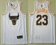 Wholesale Cheap Men's Chicago Bulls #23 Michael Jordan White Golden Nike Swingman Stitched NBA Jersey