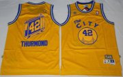 Wholesale Cheap Men's Golden State Warriors #42 Nate Thurmond The City Yellow Hardwood Classics Soul Swingman Throwback Jersey