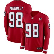 Wholesale Cheap Nike Falcons #98 Takkarist McKinley Red Team Color Men's Stitched NFL Limited Therma Long Sleeve Jersey