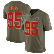 Wholesale Cheap Nike Chiefs #95 Chris Jones Olive Youth Stitched NFL Limited 2017 Salute to Service Jersey