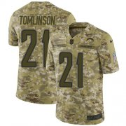Wholesale Cheap Nike Chargers #21 LaDainian Tomlinson Camo Youth Stitched NFL Limited 2018 Salute to Service Jersey