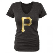 Wholesale Cheap Women's Pittsburgh Pirates Fanatics Apparel Gold Collection V-Neck Tri-Blend T-Shirt Black