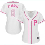 Wholesale Cheap Pirates #8 Willie Stargell White/Pink Fashion Women's Stitched MLB Jersey