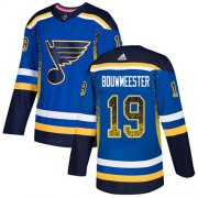 Wholesale Cheap Adidas Blues #19 Jay Bouwmeester Blue Home Authentic Drift Fashion Stitched NHL Jersey