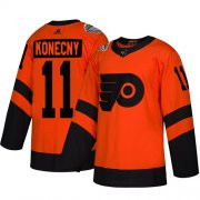 Wholesale Cheap Adidas Flyers #11 Travis Konecny Orange Authentic 2019 Stadium Series Stitched NHL Jersey