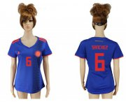 Wholesale Cheap Women's Colombia #6 Sanchez Away Soccer Country Jersey