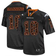 Wholesale Cheap Nike Broncos #18 Peyton Manning New Lights Out Black Men's Stitched NFL Elite Jersey