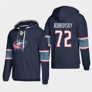 Wholesale Cheap Columbus Blue Jackets #72 Sergei Bobrovsky Blue adidas Lace-Up Pullover Hoodie