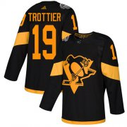 Wholesale Cheap Adidas Penguins #19 Bryan Trottier Black Authentic 2019 Stadium Series Stitched NHL Jersey