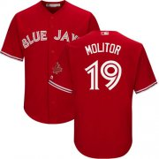 Wholesale Cheap Blue Jays #19 Paul Molitor Red Cool Base Canada Day Stitched Youth MLB Jersey