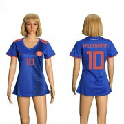 Wholesale Cheap Women's Colombia #10 Valderrama Away Soccer Country Jersey