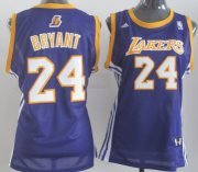 Wholesale Cheap Los Angeles Lakers #24 Kobe Bryant Purple Womens Jersey