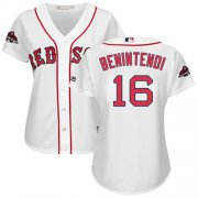 Wholesale Cheap Red Sox #16 Andrew Benintendi White Home 2018 World Series Champions Women's Stitched MLB Jersey