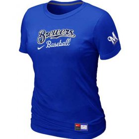Wholesale Cheap Women\'s Milwaukee Brewers Nike Short Sleeve Practice MLB T-Shirt Blue