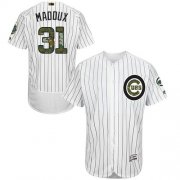 Wholesale Cheap Cubs #31 Greg Maddux White(Blue Strip) Flexbase Authentic Collection Memorial Day Stitched MLB Jersey