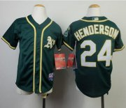 Wholesale Cheap Athletics #24 Rickey Henderson Green Cool Base Stitched Youth MLB Jersey
