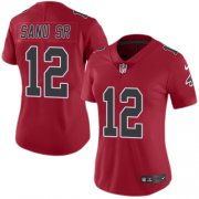 Wholesale Cheap Nike Falcons #12 Mohamed Sanu Sr Red Women's Stitched NFL Limited Rush Jersey