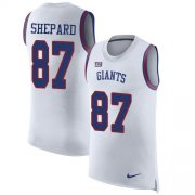 Wholesale Cheap Nike Giants #87 Sterling Shepard White Men's Stitched NFL Limited Rush Tank Top Jersey