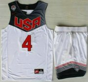 Wholesale Cheap 2014 USA Dream Team #4 Stephen Curry White Basketball Jersey Suits