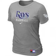 Wholesale Cheap Women's Tampa Bay Rays Nike Short Sleeve Practice MLB T-Shirt Light Grey