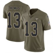 Wholesale Cheap Nike Saints #13 Michael Thomas Olive Youth Stitched NFL Limited 2017 Salute to Service Jersey