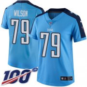 Wholesale Cheap Nike Titans #79 Isaiah Wilson Light Blue Women's Stitched NFL Limited Rush 100th Season Jersey