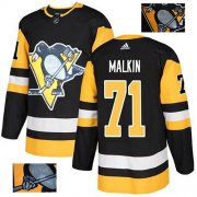 Wholesale Cheap Adidas Penguins #71 Evgeni Malkin Black Home Authentic Fashion Gold Stitched NHL Jersey