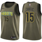 Wholesale Cheap Nike Denver Nuggets #15 Nikola Jokic Green Salute to Service NBA Swingman Jersey