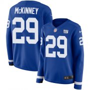 Wholesale Cheap Nike Giants #29 Xavier McKinney Royal Blue Team Color Women's Stitched NFL Limited Therma Long Sleeve Jersey