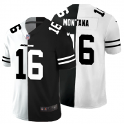 Cheap San Francisco 49ers #16 Joe Montana Men's Black V White Peace Split Nike Vapor Untouchable Limited NFL Jersey