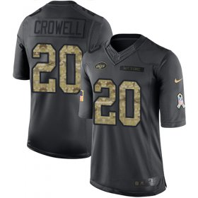 Wholesale Cheap Nike Jets #20 Isaiah Crowell Black Men\'s Stitched NFL Limited 2016 Salute to Service Jersey
